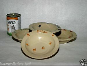 keramik-im-hof Futtertellerchen mit Wunschname, Napf, Schüssel, Katze, Hund
