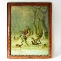 RARE Antique Color Lithograph The LOST Moritz Müller München Original Oak Frame