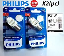 X2 Philips P21W LED Exterior Lighti Red stop and tail signaling light BA15s 1156