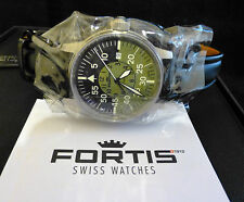 NEW-Fortis Flieger Cockpit Automatic Mens Watch Black & Green Dial Black Leather