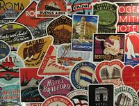 Vintage Travel Stickers Hotel Logos, Companies, Old Hipster Stickers Airlines