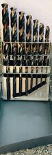 15 PC LastCut Black & Gold Jobber Drill Bit Set. 1/16 to 1/2 Huot Case, 135 S/P