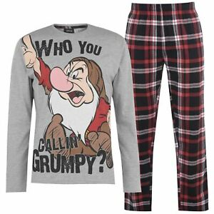 Official DISNEY GRUMPY 2 Piece Tartan Pyjama S set MENS SMALL Snow White Pj's