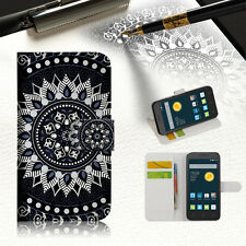 BLACK ZTEC TRIBAL Wallet Case Cover For Telstra Optus Alcatel Pixi 3 4.5 --A005