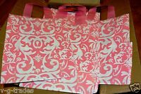 8x5x10  LOT 10 Frosted PINK Plastic Bags Damask Merchandise Gift BAG 8 5 10