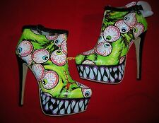 Iron Fist Timmy Chew Green Eyeball Fang Platform Bootie Boots Womens 7 Goth Punk