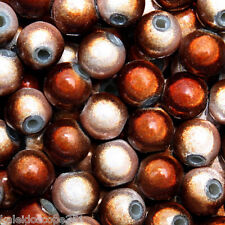 MIRACLE BEADS TWO TONE COLOR CARMEL BROWN AND WHITE 6MM 100 BEAD