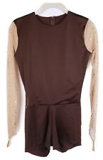 Brown with Holo on Sleeves Unitard Dance/Recital Costume - Women's Adult Medium