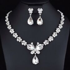 Beautiful Crystal Rhinestone Necklace Earrings Set Bridal Prom Wedding Party N23