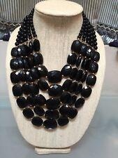 NWOT Multi Strand Black Beaded Bib Statement Necklace