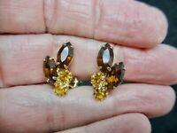 Vintage-Brown & Golden Topaz Rhinestone Clip Earrings