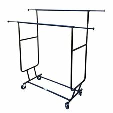Commercial Grade Garment Clothes Rack - Double Salesman Rack RACK-RCS2 Black