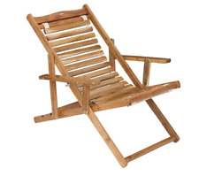 Indian Handmade Wooden Patio Folding Chair Beach Rest Chair Indoor Outdoor