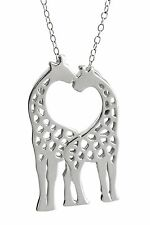 Giraffes Necklace - 925 Sterling Silver - Kissing Loving Giraffe Animals NEW