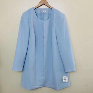 Kasper Plus Size Collarless Topper Jacket 18W Powder Blue Blazer Open Front