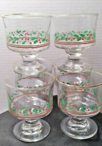 6 Vintage Arby's Christmas Collection Holly Berry Dessert Fruit Sherbet Glasses