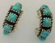 Nature's Jewelry Turquoise And Sterling Half Hoop Post Earrings