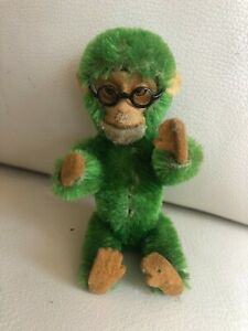 """Rare Schuco Nodder Monkey Green Works Mohair 5"""" with Glasses"""