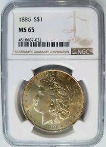 1886 Silver Morgan Dollar NGC MS 65 Monster Toner End Roll Toning Album Toned