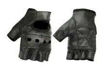 Mens Womens Quality Fingerless Black Genuine Leather Motorcycle Cruising Gloves