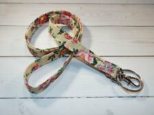 Skinny Lanyard Id Holder Key Leash badge holder - flowers yellow green