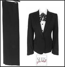 NEXT LADIES TROUSER / PANT SUIT 100% WOOL BLACK BUSINESS WORK CITY JOB OFFICE 10