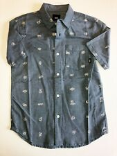 Vans New Houser Short Sleeve Shirt Boy's Youth Medium 10-12 Eyeballed/Blue