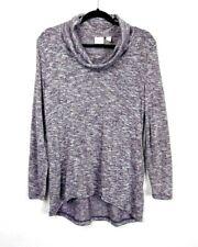 Chico's Women's Lightweight Cowl Neck Purple Metallic Sweater Size 1