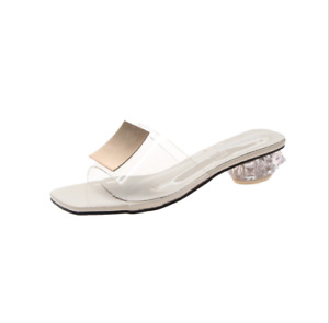 Women's Sandals Slippers Open Toe Low Block Heel Chic Comfortable Beach Clear