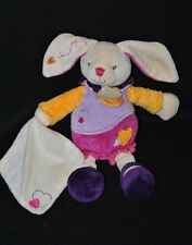 Peluche doudou lapin BABY NAT' violet mauve jaune mouchoir coeur 26 Cm TTBE