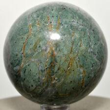 "2.1"" GREEN APATITE w/ Orange Calcite Quartz Sphere Crystal Mineral Ball - Peru"