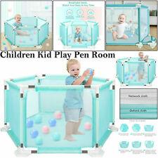 FOLDABLE BABY PLAYPEN CHILDREN KIDS PLAY PEN SAFETY DIVIDER PANEL FENCE 10 BALLS
