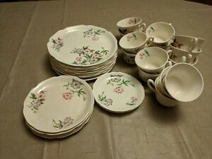 Pink/White Floral Unmarked Vintage China 31-pc Lot USED Mostly Plates & Tea Cups