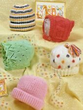 107 DK Hats & Helmets Knitting Pattern Only, Baby Girls/Boys Birth - 2years