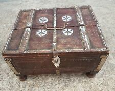 1700's ANTIQUE SCARCE PRIMITIVE HAND CARVED MONEY / TREASURE CHEST-WOODEN BOX
