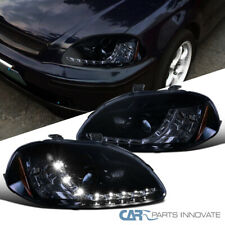Fit 96-98 Honda Civic 2/3/4Dr Glossy Black LED DRL Projector Headlights Pair