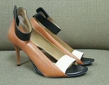 ANN TAYLOR Colorblock Camel White Black Leather Open Toe Ankle Strap Heels 11M