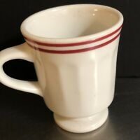 Syracuse China Pedestal Mug Red Lined Restaurant ware Made USA Replacement VTG