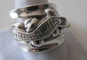 Barry Kieselstein Cord Alligator Diamond Eyes Sterling Silver Ring Sz 9 PERFECT