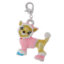 Colorful Chihuahua 3D Enamel Charm Pink Coat ANIMAL RESCUE DONATION