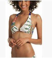 Trina Turk Women's Triangle Halter Hipster Bikini Swimsuit Top Size 8