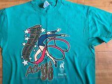 96 Olympics Team Usa Gymnastics t shirt teal Atlanta Hanes L vintage Rio flag