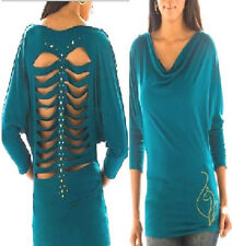 NWT Baby Phat Jeweled CUT OUT BLUE Back Stud Cat Top 1X PLUS SIZE last 1