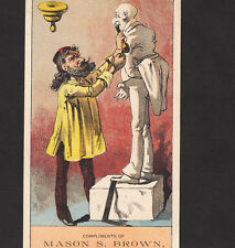 Antique Sculptor Artist 1880's Marble Statue Drugstore Strykersville NY Ad Card
