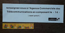 Grand Autocollant 40 x 12 cm PTT TÉLÉCOMMUNICATIONS pour CABINE TÉLÉPHONIQUE