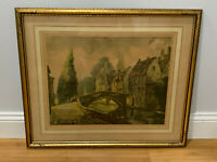 Vintage Antique French Lithograph Print The Road Over The Bridge