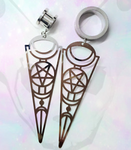 Steel Screw Dangle Ear Plug Cross Earring witch Pendant Gauge Tunnel Pentagram