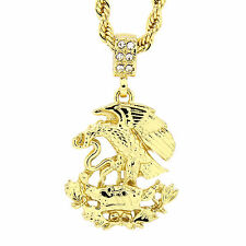 "Men's 14K Gold Plated Eagle on Snake Pendant Hip-Hop 4 mm/24"" Rope Chain pendant"
