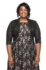 SleekTrends Plus Size Women Elbow Sleeve Sequin Lace Bolero Jacket -Dressy Shrug