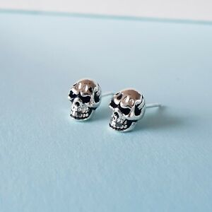925 Sterling Silver Angry Skull Stud Earrings Punk Gothic Studs Oxidised Pirate